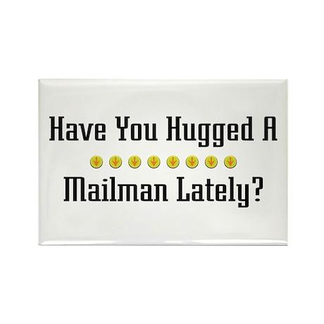 Hugged Mailman Rectangle Magnet