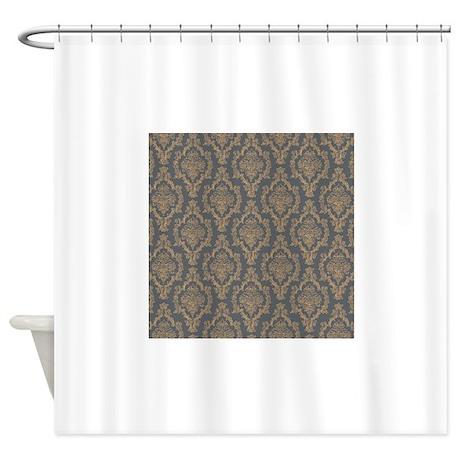 Dark Gray Yellow Damask Pattern Shower Curtain By PatternDesigns