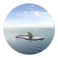 Polar Bear on Ice Round Car Magnet