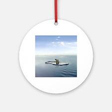 Polar Bear on Ice Round Ornament