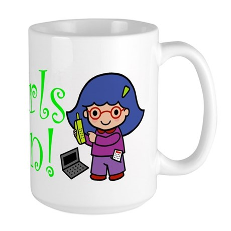 Girl Computer Professional Large Mug