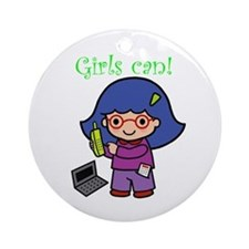 Girl Computer Professional Ornament (Round)