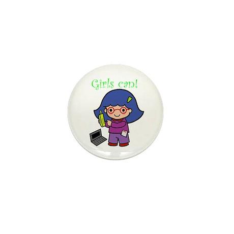 Girl Computer Professional Mini Button