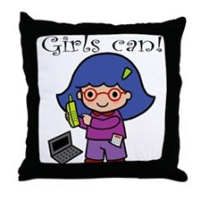 Girl Computer Professional Throw Pillow