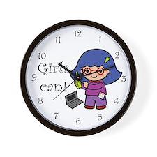 Girl Computer Professional Wall Clock