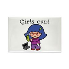 Girl Computer Professional Rectangle Magnet