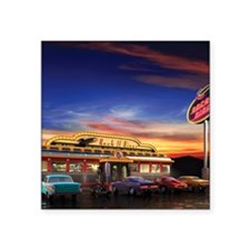 "Retro American diner at dus Square Sticker 3"" x 3"""