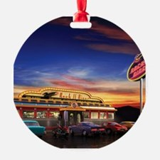 Retro American diner at dusk Ornament
