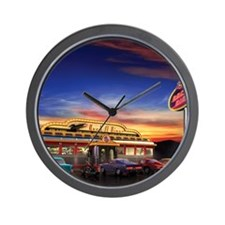 Retro American diner at dusk Wall Clock