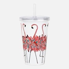 5 Pink Flamingos Acrylic Double-Wall Tumbler