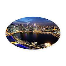 Singapore city skyline at night Oval Car Magnet