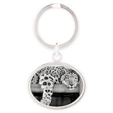 Snow Leopard Oval Keychain