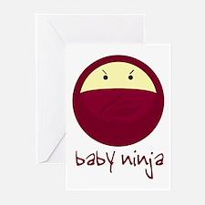 Red/Pink Baby Ninja Greeting Cards (Pk of 10)