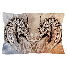 Tattoo art, fantasy medieval dragons h Pillow Case