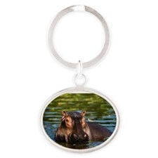 The Hippopotamus. Oval Keychain