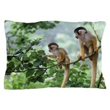 Two Baby Squirrel Monkey Out On Advent Pillow Case