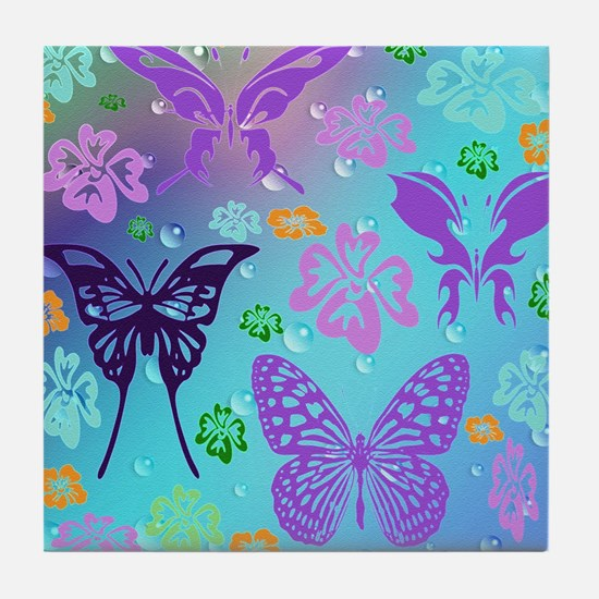 Cute Butterfly Tile Coaster
