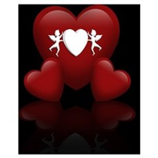 3D Hearts Over Black Poster
