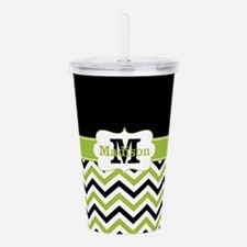 Black Lime Green Chevron Monogram Acrylic Double-w