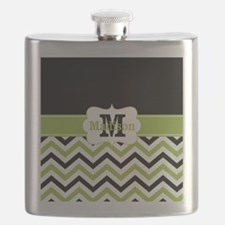 Black Lime Green Chevron Monogram Flask