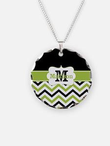 Black Lime Green Chevron Monogram Necklace