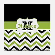 Black Lime Green Chevron Monogram Tile Coaster