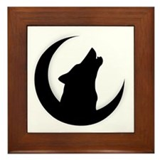 Howling Wolf Silhouette With Moon  Framed Tile