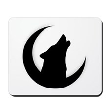 Howling Wolf Silhouette With Moon  Mousepad