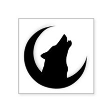 """Howling Wolf Silhouette Wit Square Sticker 3"""" x 3"""""""