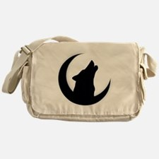 Howling Wolf Silhouette With Moon  Messenger Bag