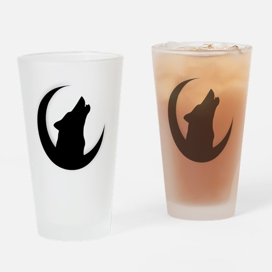 Howling Wolf Silhouette With Moon  Drinking Glass