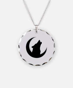 Howling Wolf Silhouette With Necklace