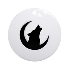 Howling Wolf Silhouette With Moon  Round Ornament