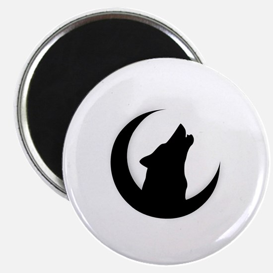 Howling Wolf Silhouette With Moon  Magnet