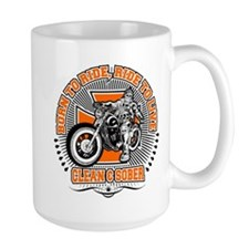 Sober Biker Round Mugs