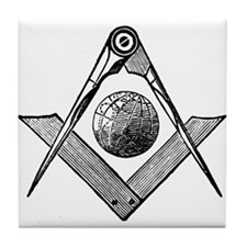Square and Compass with Globe Tile Coaster