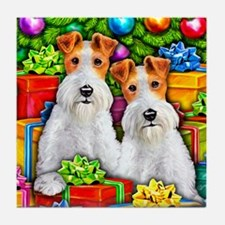 Wire Fox Terrier Open Gifts Tile Coaster