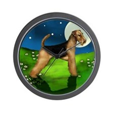 Airedale Terrier Dog Full Moon Wall Clock