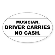 Cute Musician no cash Decal