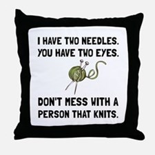Person That Knits Throw Pillow