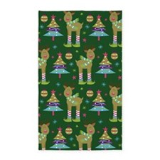 Reindeer Christmas Holiday 3'x5' Area Rug
