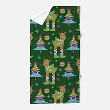 Reindeer Christmas Holiday Beach Towel