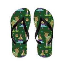 Reindeer Christmas Holiday Flip Flops
