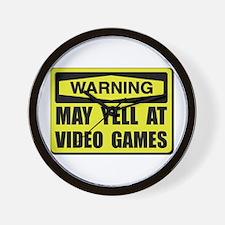Warning Yell At Video Games Wall Clock