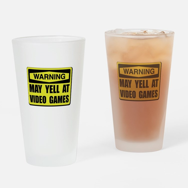 Warning Yell At Video Games Drinking Glass