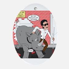 Rhino Helper Animal Ornament (Oval)