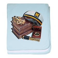 Cute Ship nautical compass baby blanket