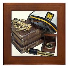 Funny Ship nautical compass Framed Tile