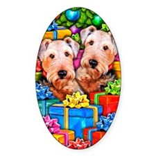 Airedale Terrier Christmas Oval Decal
