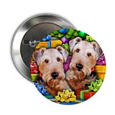Airedale Terrier Christmas Button
